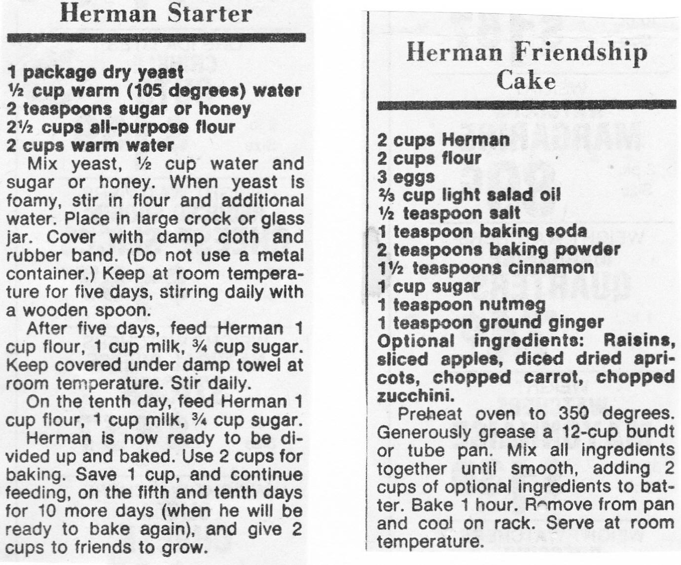 Starter recipe for herman friendship cake