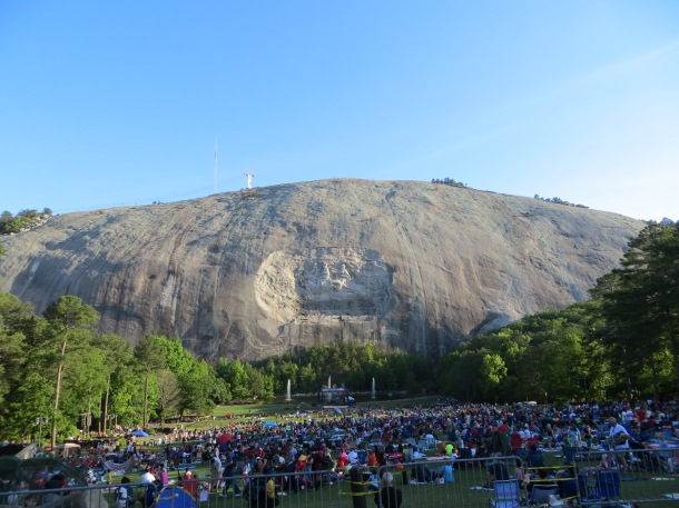 A view of stone mountain and the carving from a distance