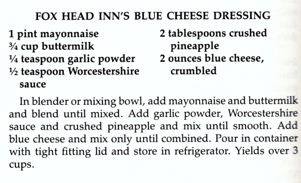 fox head's blue cheese dressing