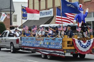One of many floats in the parade