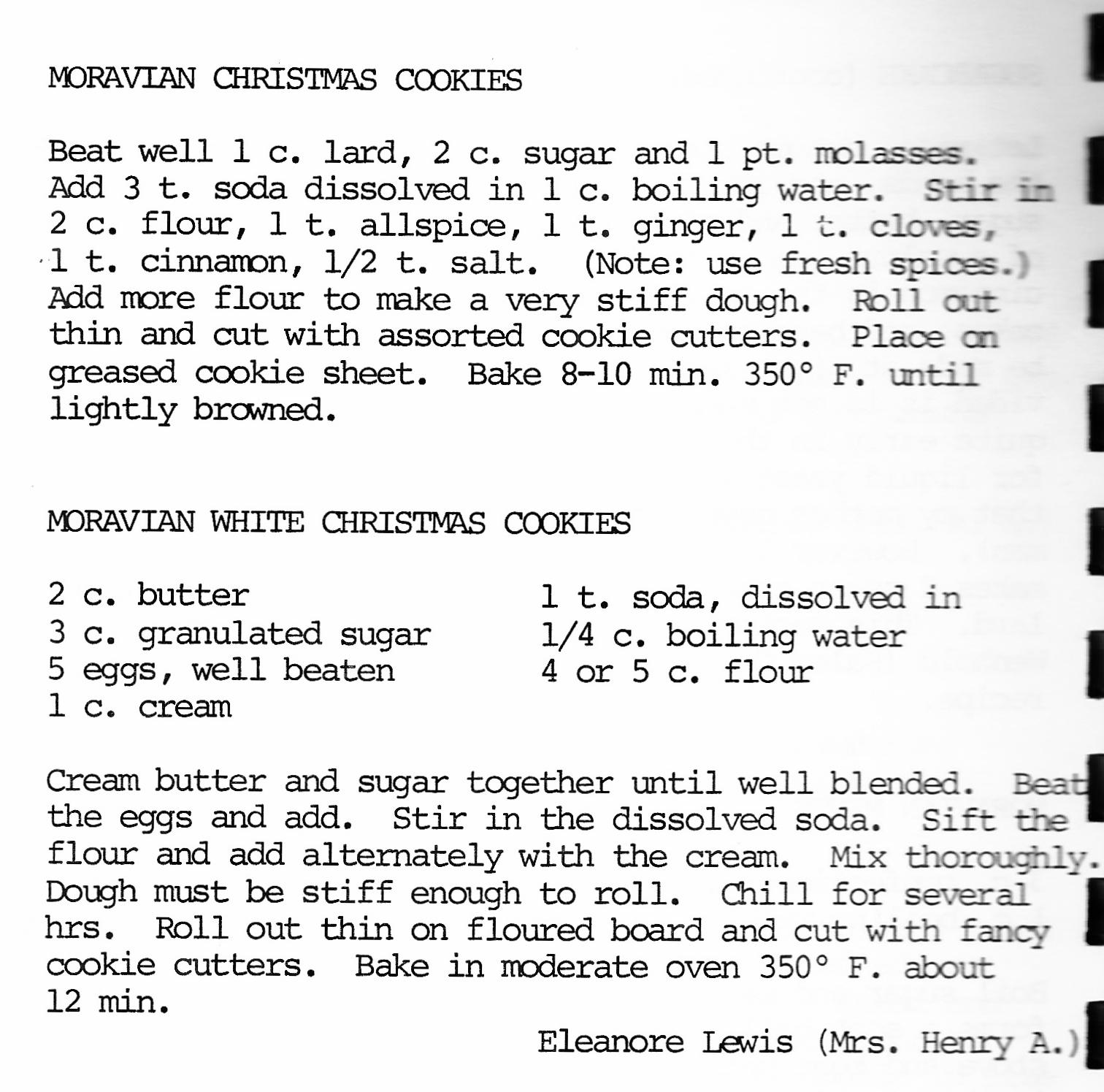 Moravian cookies history