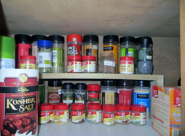 Close up of spices in cabinet