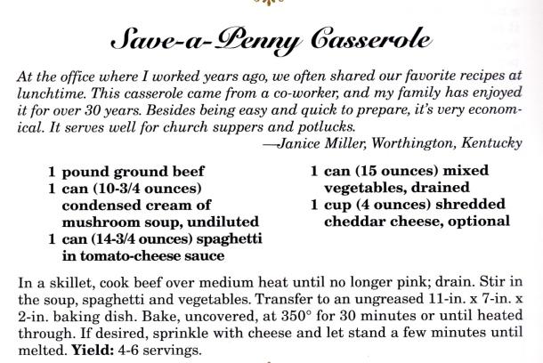 save a penny casserole