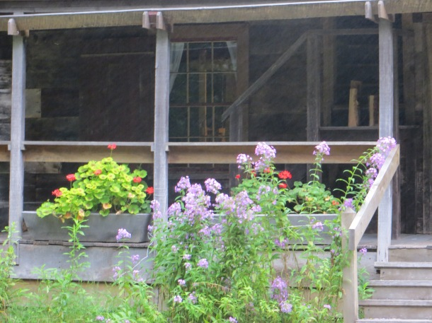 Snapshot of porch with one of my favorite flowers - Tall Garden Phlox