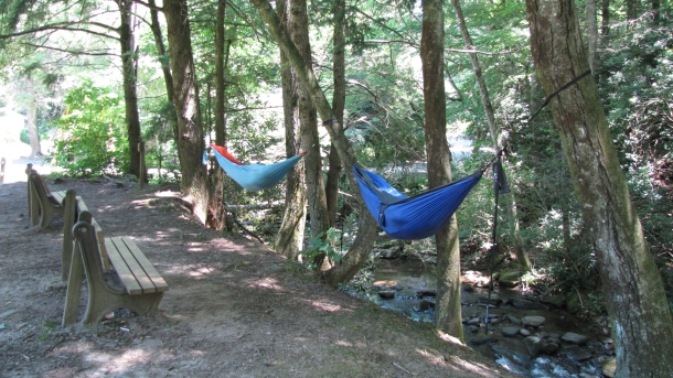 People in Hammocks by River way in Montreat, NC