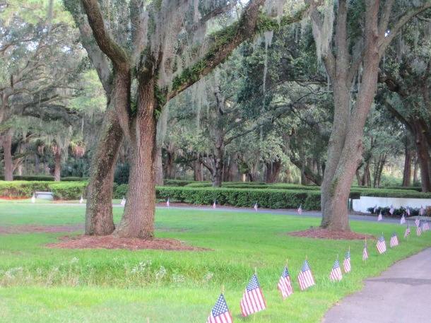Six Oaks Cemetery decorated for the 9/ll remembrance