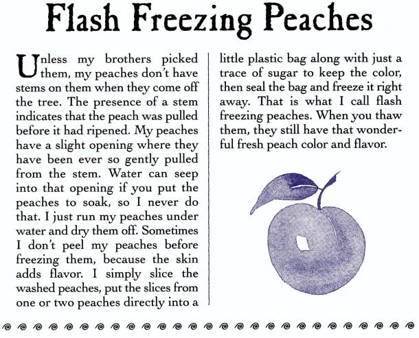flash freezing peaches