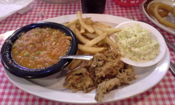 Mr. D had barbecue and brunswick stew